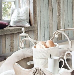 rustic shabby chic french provincial timber plank wallpaper with pale blue 4000776855039. Black Bedroom Furniture Sets. Home Design Ideas