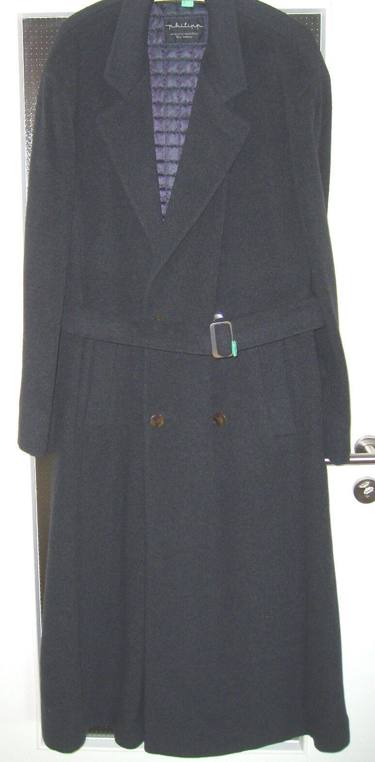 Philipp   Langer Kaschmir-Mantel mit Gürtel   Größe 58   anthrazit