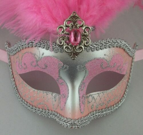 "Light Pink Silver Venetian Mask Feather Masquerade Mardi Gras 12/"" New"