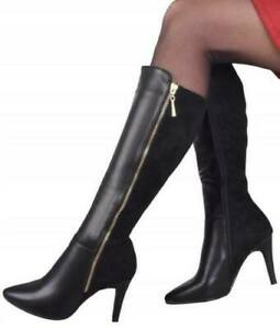 Women-039-s-ladies-high-heel-knee-high-boots-shoes-winter-shoes-sizes-3-8