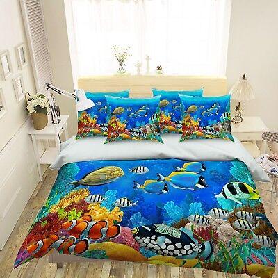 3D Starfish Fishs 5 Bed Pillowcases Quilt Duvet Cover Set Single Queen King AU