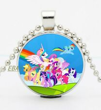 My Little Pony hotchpotch Cabochon Glass Tibet Silver Chain Pendant Necklace E75