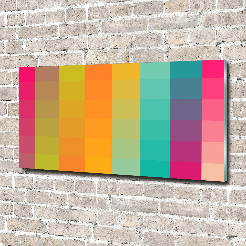 Wandbild aus Plexiglas® Druck auf Acryl 140x70 Kunst Bunte Quadrate