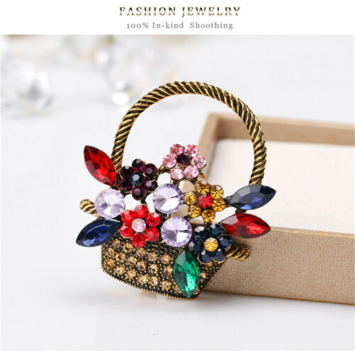 Brooch Pin Jewellery Gift Antique Gorgeous Flower Basket Shape Brooch Gift LC