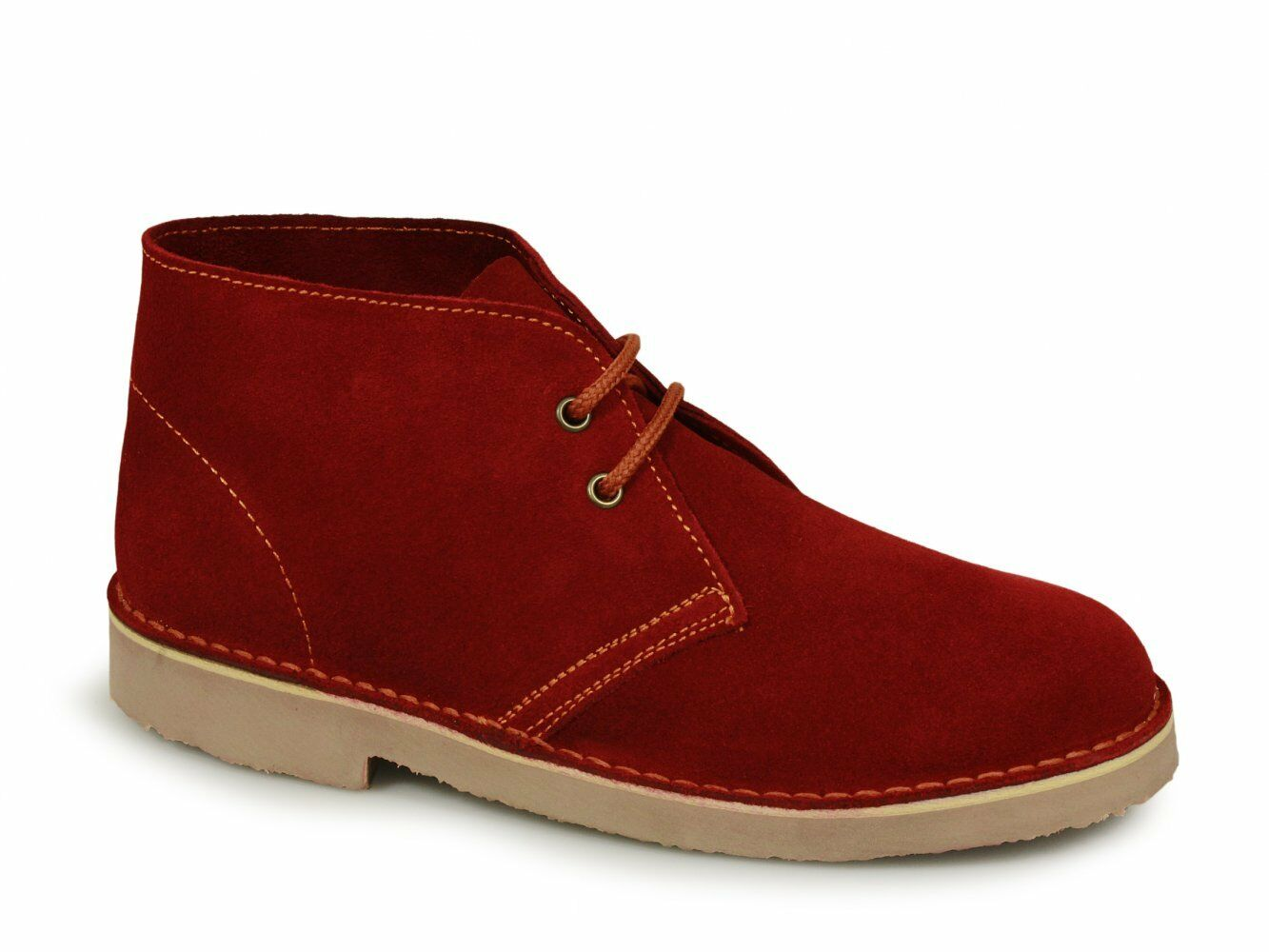 Roamers ORIGINAL Unisex Mens Womens .Soft Suede Leather Lace Up Desert Boots Red