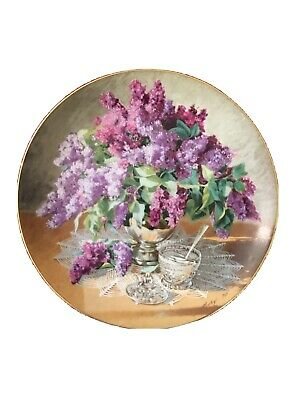 W.S George fine China Lilacs decorative plate   Certificate of Authenticity included.