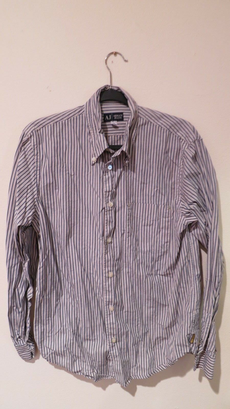 Armani Jeans Striped Shirt L S Button Up S M Medium Authentic White bluee NICE