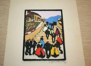 Herbert-Gurschner-034-On-The-Stairs-034-Woodcut-Gravure-Sur-Bois-SIGNED