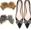 2 Pcs Fur Trim Crystal Rhinestone Bow Raccoon Fur Shoe Clips