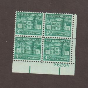 US,1037,THE HERMITAGE, PLATE BLOCK,LIBERTY SERIES MINT NH,OG
