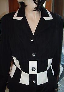 à noire Veste So Vintage Cache Cute blanche ajustée carreaux q547FTt4