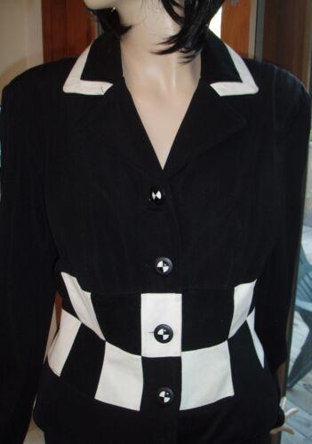 Veste carreaux ajustée So à Vintage Cute noire Cache blanche OOfrvq