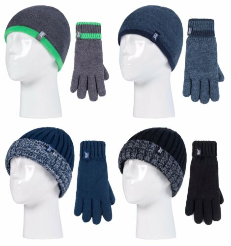 Heat Holders Kids Boys Chunky Fleece Lined Thermal Winter Hat and Gloves Set