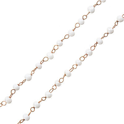 G50 Rosary Style Chain With Light Blue Round Glass Beads 1m