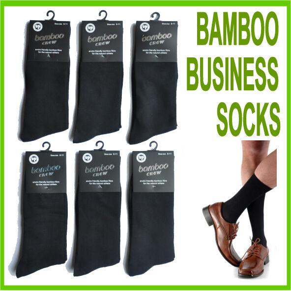 NEW 6 PAIR MENS BAMBOO BUSINESS SOCKS SIZE 6-11, 11-14 BLACK NAVYBLUE WHITE GREY