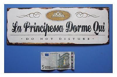 """Targa vintage /""""La Principessa Dorme Qui metallo Do not disturb/"""" cm 25x11"""