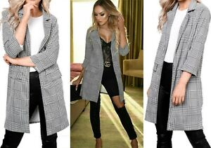 Ladies Womens Gingham Check Collared Open Longline Duster Blazer Cardigan Top