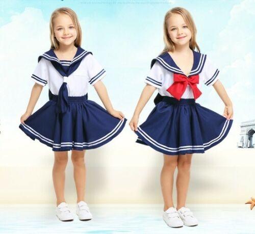 Girls Navy Sailor Moon Costume Kids Child Book Week Blue Red Uniform Fancy Dress