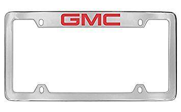 GMC Logo Chrome Metal license Plate Frame Holder 4 Hole