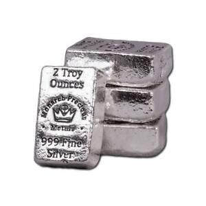 1  -  2 oz. 999 Fine Silver Bar - Monarch - Hand Poured - Uncirculated