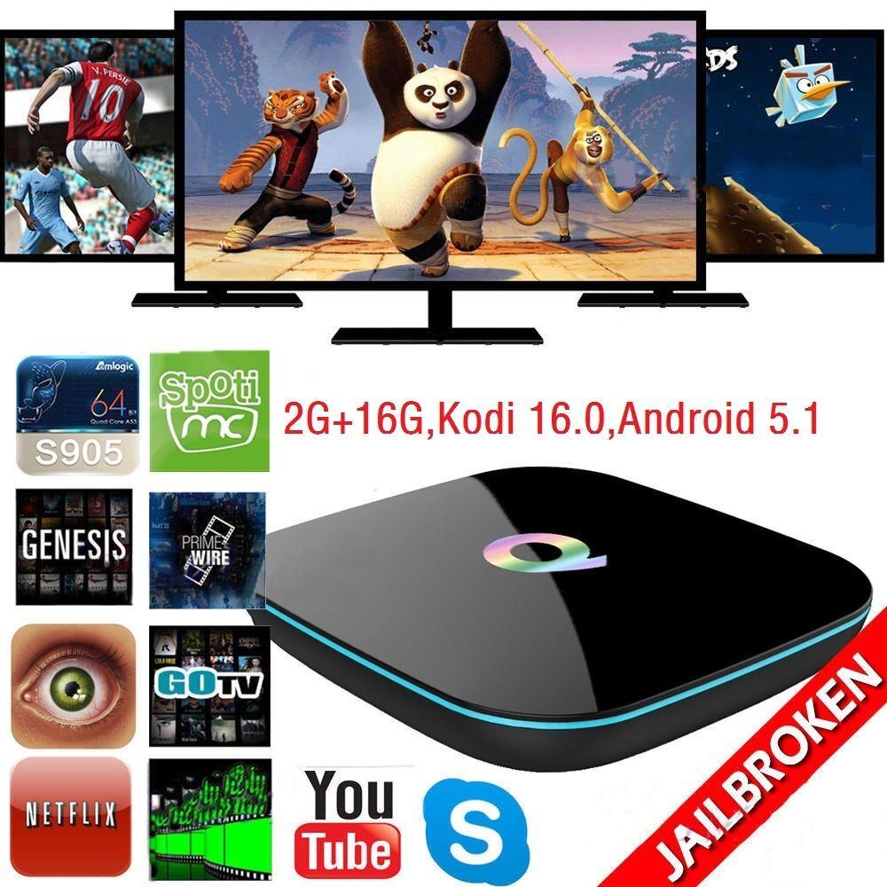 Q-BOX HDMI 4K2K Smart TV Box S905 Quad-Core Wifi BT Android 5.1 KODI 16.0 2G+16G