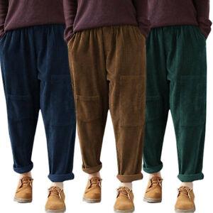 Plus-Size-Womens-Corduroy-Baggy-Harem-Trousers-Ladies-Casual-Winter-Pants