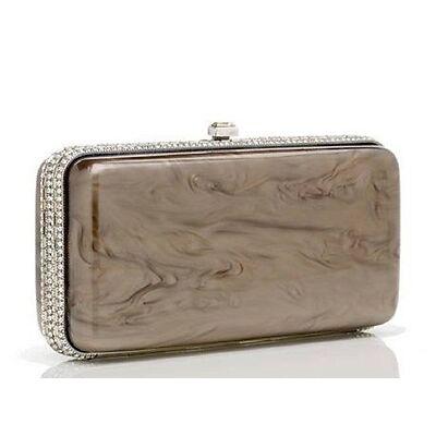 $ 3450.00  Judith Leiber Resin Rectangle Dinah Taupe  Handbag, Italy