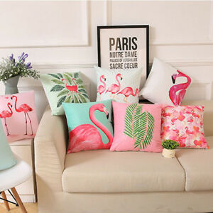 Image Is Loading Fashion Flamingo Polyester Throw Pillow Case Sofa Cushion