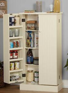 Details about White Wood Kitchen Pantry Cabinet Storage Food Cupboard Door  Shelves Adjustable