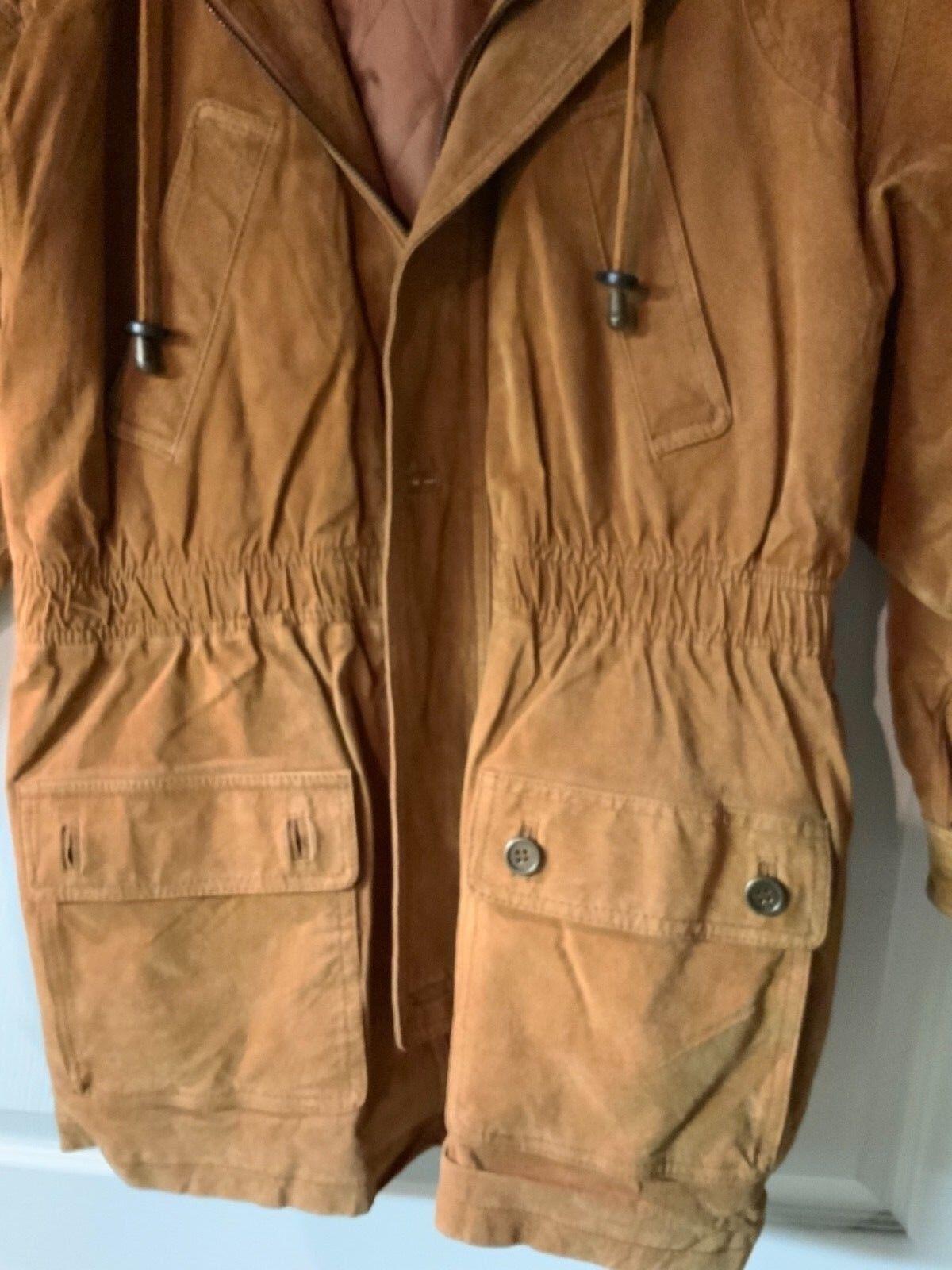 Paris Sport Club Women's Women's Women's Hooded Suede Coat Small 322f47