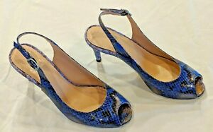 Stuart Weitzman peep-toe blue, black, & gold open toe snakeskin heels, size 5.5,