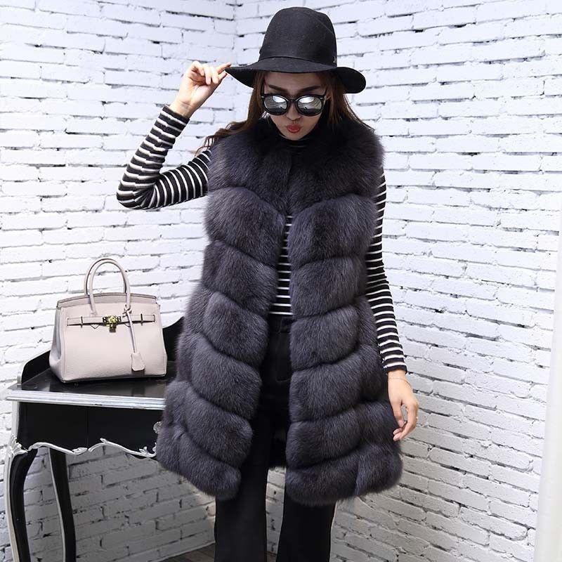 Winter Winter Winter Womens Faux Fur Vest Luxury Outwear Long Slim Gilet Real Warm Overcoat 18 8a7b50
