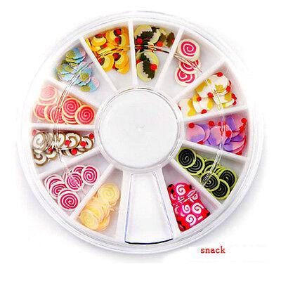 Fimo Acrylic Nail Art Decoration Tips 120PC Multicolor Slice Manicure Wheel Cool