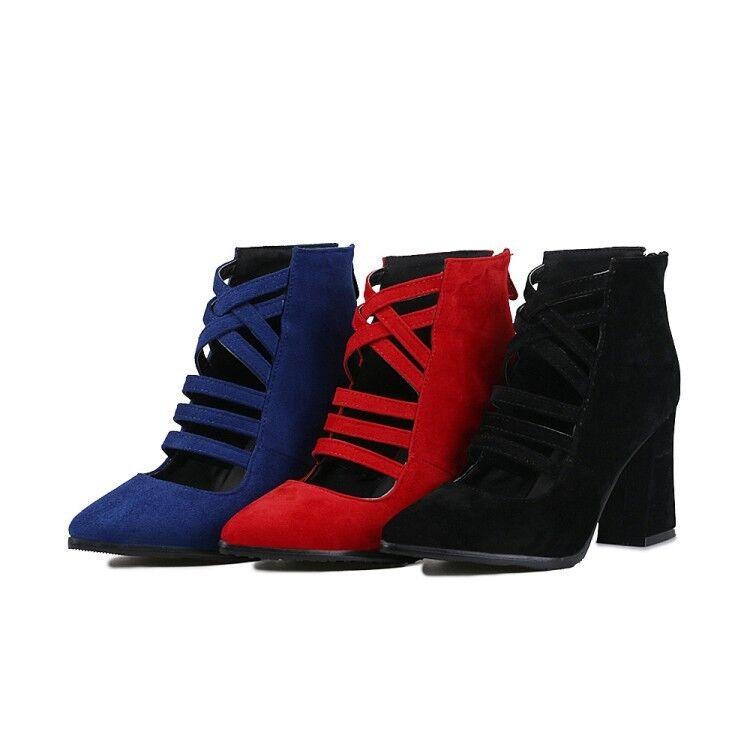Ladies shoes Faux Suede High Block Heels Pumps Zip Back Ankle Boots US Size b225