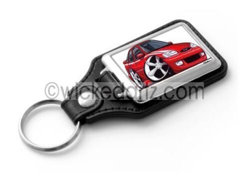 WickedKarz Cartoon Car Ford Escort MK6 in Red Stylish Key Ring
