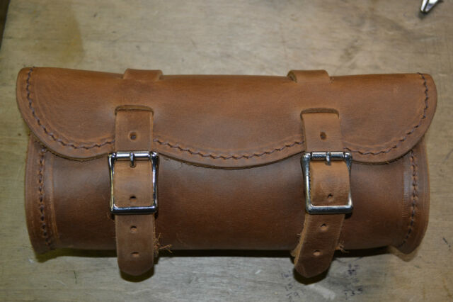 """Small """"Crazy Horse"""" Brown Leather Tool Bag Harley Indian Made in the USA"""