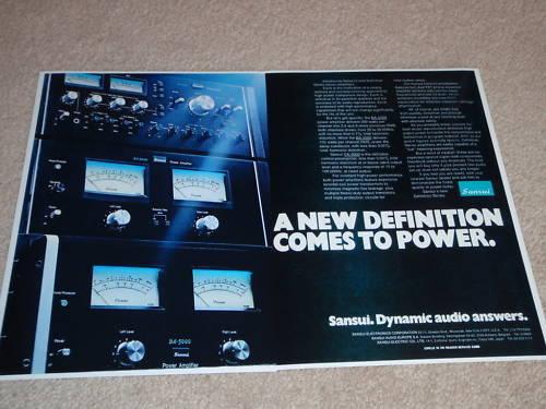 Sansui BA-5000,BA-3000,CA-3000 Amps, Pre Ad, 2 pages