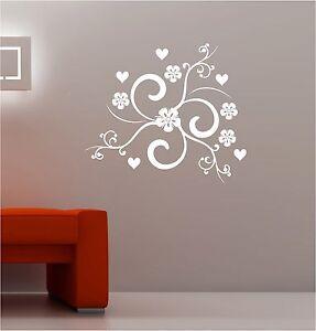 MODERNO VORTICI & CUORI arte in vinile adesivo fiori salotto camera ...