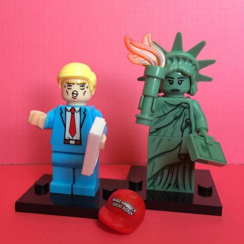 2PCS Donald Trump statue de la liberté Mini Figure Rare A L30