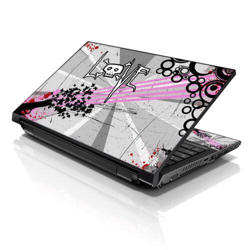 """17.3/"""" Laptop Sleeve Bag w Shoulder Strap /& Matching Skin Love Grey Skull 17Z-D69"""