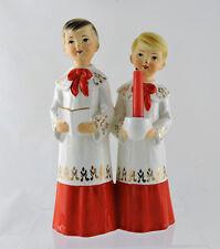 """Vintage Mid-Century Christmas Figurine Choir Boys Candle Holder Schmid Bros 7.5"""""""
