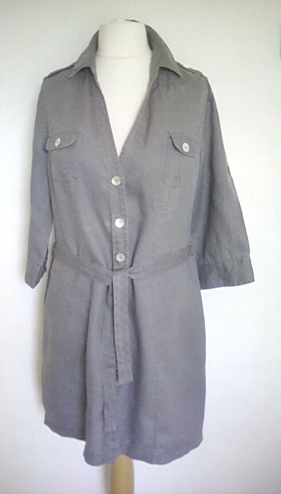 MALVIN UK 14 Linen shirt dress safari faded grey tie belt roll tab sleeve