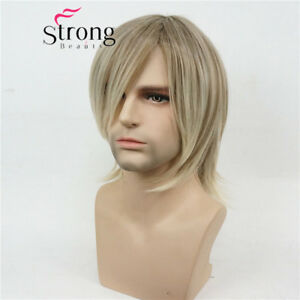 Short Blonde Highlighted Choppy Layered Shag Full Synthetic Wig Men's Wigs