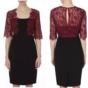 BEAUTIFUL-LK-BENNETT-BLACK-AND-ROSE-LACE-DETAIL-DRESS-UK-SIZE-12-RRP-350