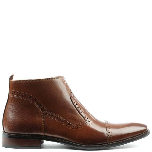 DANIEL Hermitage Tan Leather Hole Punch Ankle Boot LN13 58 SALEw