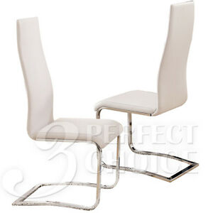 Brewer modern set of 4 dining side chairs white faux for White leather and chrome dining chairs