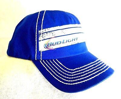 a91d991596f69 Bud Light Strap Back Hat Trucker Style Royal Blue Budweiser Beer Cap ...