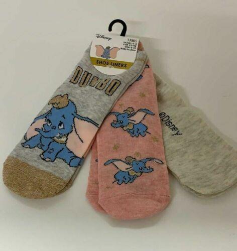 Women/'s Dumbo Shoe Liner Pack Of 3 Ladies Disney Socks Primark UK 4-8