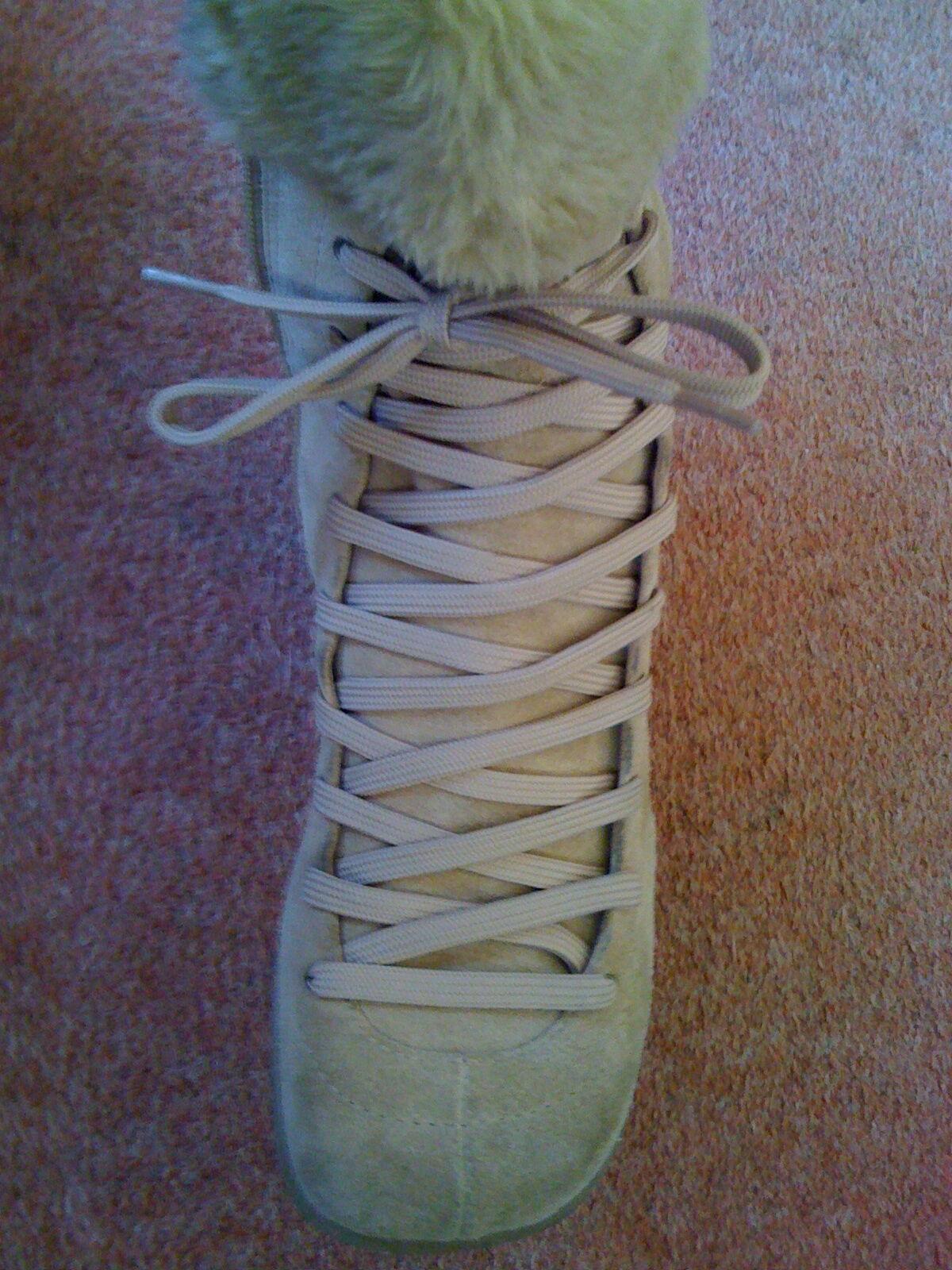 Nuevas Nine West Bronceado ante color arena Botas con cordones Puños de piel de becerro caliente lindo
