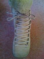 Sz 4 Nine West Tan Sand Suede Lace Up Fur Cuff Calf Boots Warm